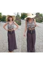 maxi skirt my design skirt - Forever 21 hat - Forever 21 top