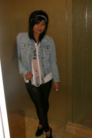 Gap jacket - handmade t-shirt - American Apparel leggings - Minnetonka boots
