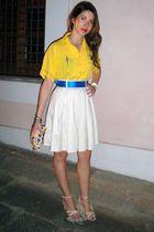 yellow vintage shirt - beige H&M skirt - beige sandals shoes - white Dooney & Bo