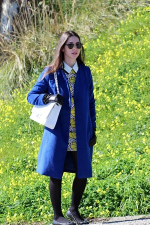 blue wool silvian heach coat - yellow silk PERSUNMALL dress