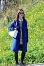 Yellow-silk-persunmall-dress-blue-wool-silvian-heach-coat