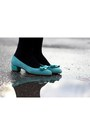 Aquamarine-suede-salvatore-ferragamo-shoes-black-acrylic-look-book-store-dress