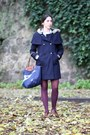 Burnt-orange-leather-vintage-shoes-navy-wool-comptoir-des-cotonniers-coat