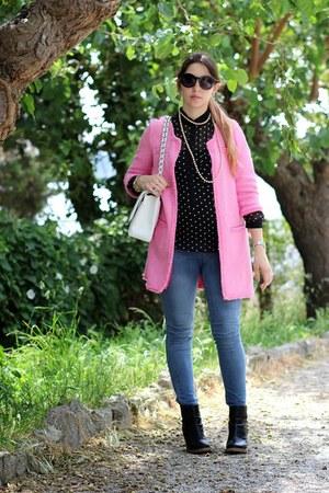 bubble gum cotton Zara coat - black leather danielle boots