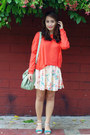 Coral-knit-zara-sweater-light-pink-bershka-skirt-green-vida-sandals