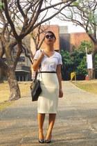 white Sexy White Shirt shirt - black TMART bag - ivory Forever 21 skirt