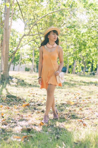 orange skater H&M dress - neutral boater cocco hat - pink AsianVogue heels
