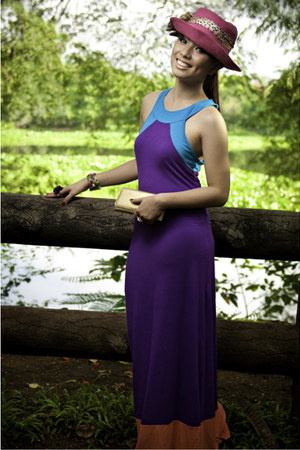 deep purple mint dress - hot pink cocco hat - gold Prada wallet - multi-colored