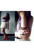 lace dress landmark shirt - suede MNL heels - bangles landmark accessories - tul