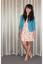 coral floral print cocco dress - teal Bossini blazer