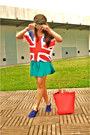 Red-union-jack-shirt-army-green-commie-goorin-bros-hat-turquoise-blue-shorts
