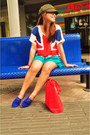 Army-green-commie-goorin-bros-hat-red-union-jack-shirt-turquoise-blue-shorts