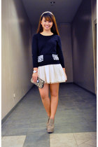 ivory skirt - black kashieca sweater - camel leopard print Mango purse