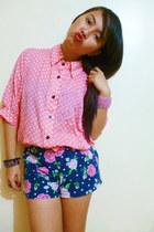 purple vintage ring - navy floral shorts - bubble gum polka dots blouse