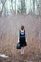 black backpack thrifted Nine West bag - black pleated Vintage Thrifted skirt