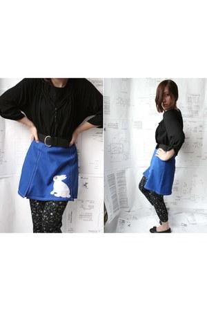 black unknown leggings - blue Dollhouse skirt - black vintage thrifted belt - bl