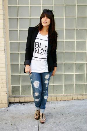 black Shotwell blazer - white Forever21 t-shirt - Forever21 jeans - gold H&M sho