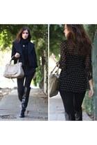 black boucle coat Dailylook jacket - black Bamboo boots - tan Dailylook purse
