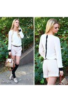 eggshell tweed shorts Comme Toi shorts - nude patent oxfords Qupid shoes
