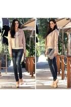 blue Machine jeans - light pink Luz Apparel jacket - silver Dailylook bag