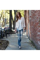white Dailylook shoes - blue Dailylook jeans - light pink Dailylook blazer