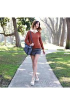 burnt orange Dailylook sweater - heather gray Dailylook bag