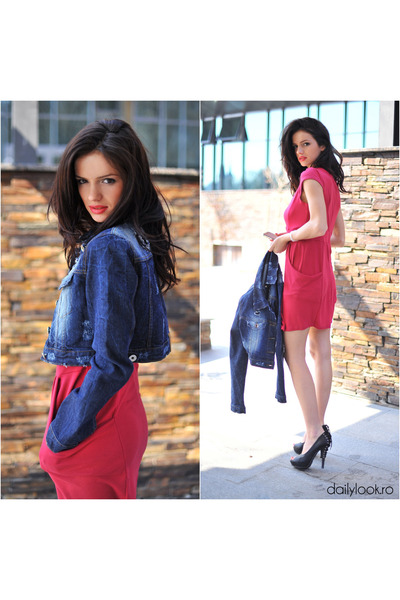 Navy Denim Jacket Esj Jackets, Hot Pink Dresses, Salmon Necklaces ...