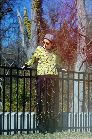 yellow bananas H&M sweater - yellow H&M sunglasses - black wavy thrifted skirt