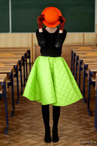 chartreuse handmade skirt - black Vintage Thrifted boots