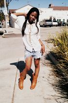 Forever 21 blouse - boots - Forever 21 accessories - DIY shorts