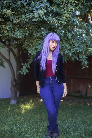 black thrifted cardigan - navy high waisted Charlotte Russe jeans