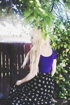 black thrifted skirt - deep purple crop top Forever 21 top