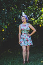 Brown-thrifted-boots-sky-blue-forever21-dress