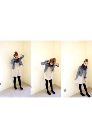 crochet coppelia dress - denim Levis jacket - knitted by me scarf - scissors Cla