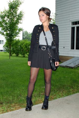 black doc martens boots - black Target tights - black American Eagle skirt - bla