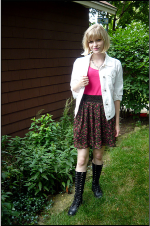 pink floral Target skirt - black vintage boots - white jean Gap jacket