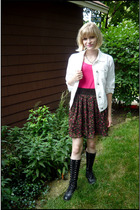 pink floral Target skirt - black vintage boots - white jean Gap jacket