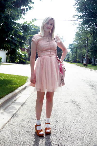 49a7ae923670 pink vintage dress - beige Kork ease shoes - white Target socks - pink  coach acc