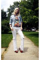 blue Gap jacket - gold H&M top - white Levis jeans - brown seychelles shoes - br