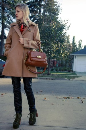 tan JCrew coat - tawny coach purse - black Topshop pants - army green Jeffrey Ca