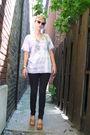 Blue-diy-shirt-black-target-jeans-beige-kork-ease-shoes-gold-sunglasses-