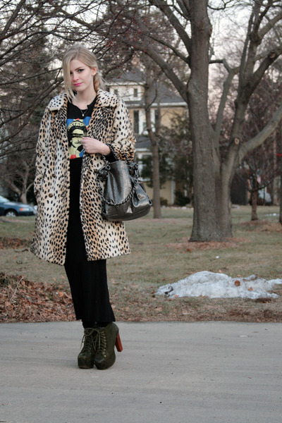 army green lita Jeffrey Campbell shoes - cream leopard vintage coat - black sex
