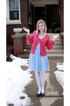 pink Guinevere cardigan - blue Rodarte dress - white Target tights - black Kenne