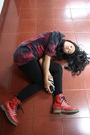 Red-cocopink-dress-black-unbranded-leggings-red-doc-martens-shoes-brown-ma