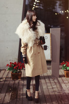 black tights - cream jacket - dark brown gloves - black wallet
