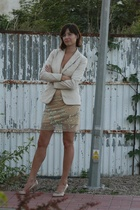 beigegold H&M blazer - nude Jacqueline Riu shoes - beigenude dress