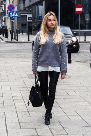 black boots - heather gray sweater - white H&M shirt - black bag - black pants