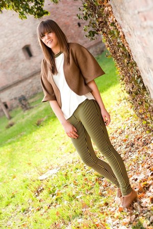dark brown blazer - ivory top - chartreuse pants