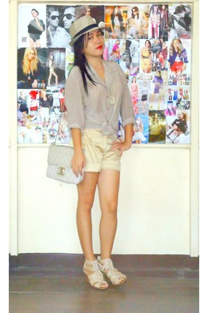 gold shorts - beige hat - cream Chanel bag - heather gray blouse - tan wedges