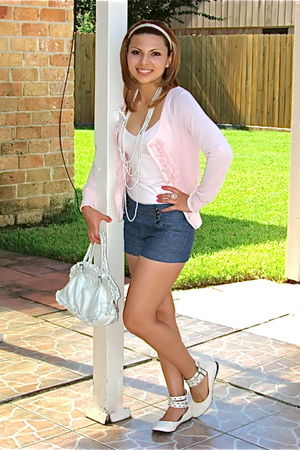 pink Forever21 shirt - pink sweater - blue Forever21 shorts - white shoes - whit